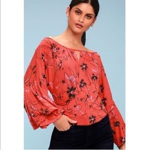 NWT Free People Bell Sleeve Floral Surplice Top S